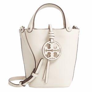Tory Burch Miller Mini White Leather Bucket Bag
